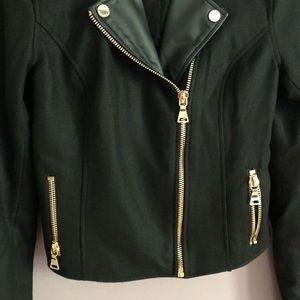Express Jackets & Coats - Express Black Recycled Wool Cropped Moto Jacket XS